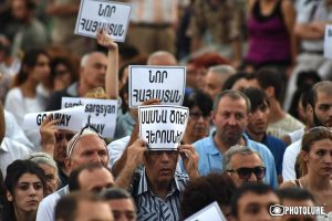 The 13th day of the protest action in support of initiators of occupation of Patrol-Guard Service Regiment of Erebuni district took place on Freedom Square in Yerevan, Armenia